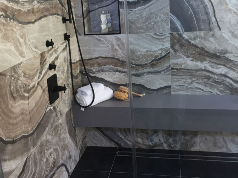 Stone Work In The Shower, Quartz